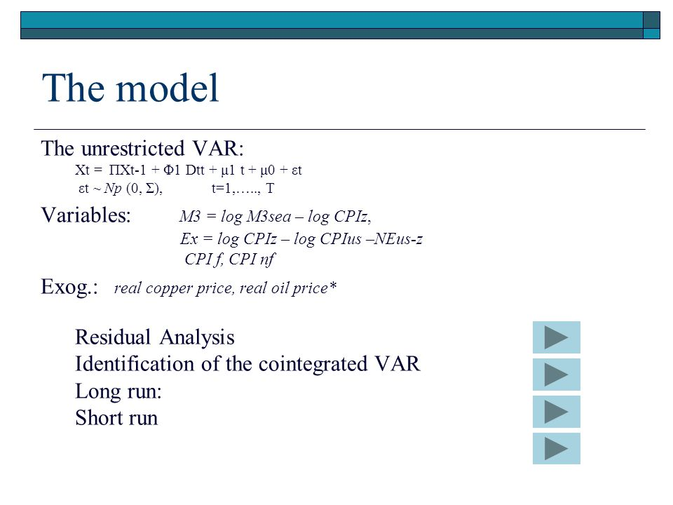 The model The unrestricted VAR: Xt = ΠXt-1 + Φ1 Dtt + μ1 t + μ0 + εt εt ~ Np (0, Σ), t=1,….., T Variables: M3 = log M3sea – log CPIz, Ex = log CPIz – log CPIus –NEus-z CPI f, CPI nf Exog.: real copper price, real oil price* Residual Analysis Identification of the cointegrated VAR Long run: Short run
