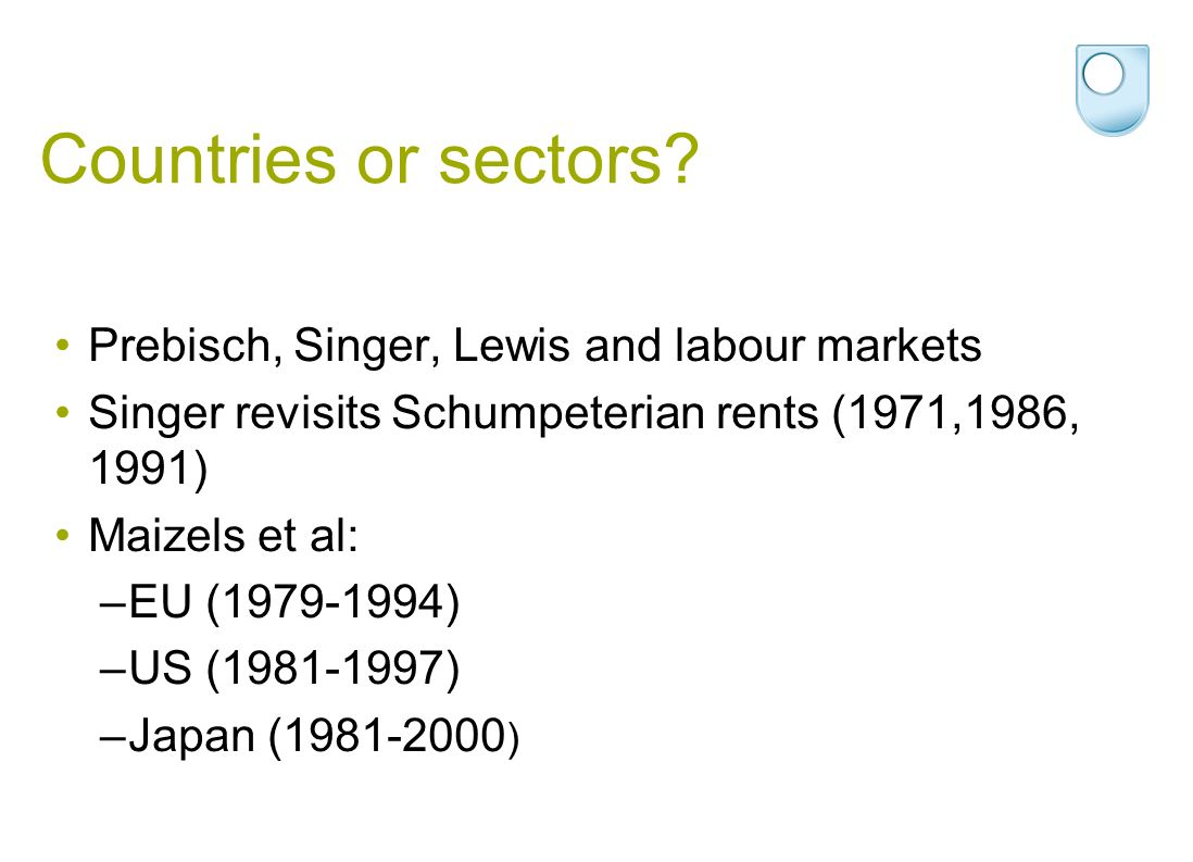 Countries or sectors.