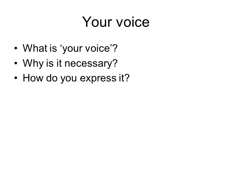 Your voice What is your voice Why is it necessary How do you express it