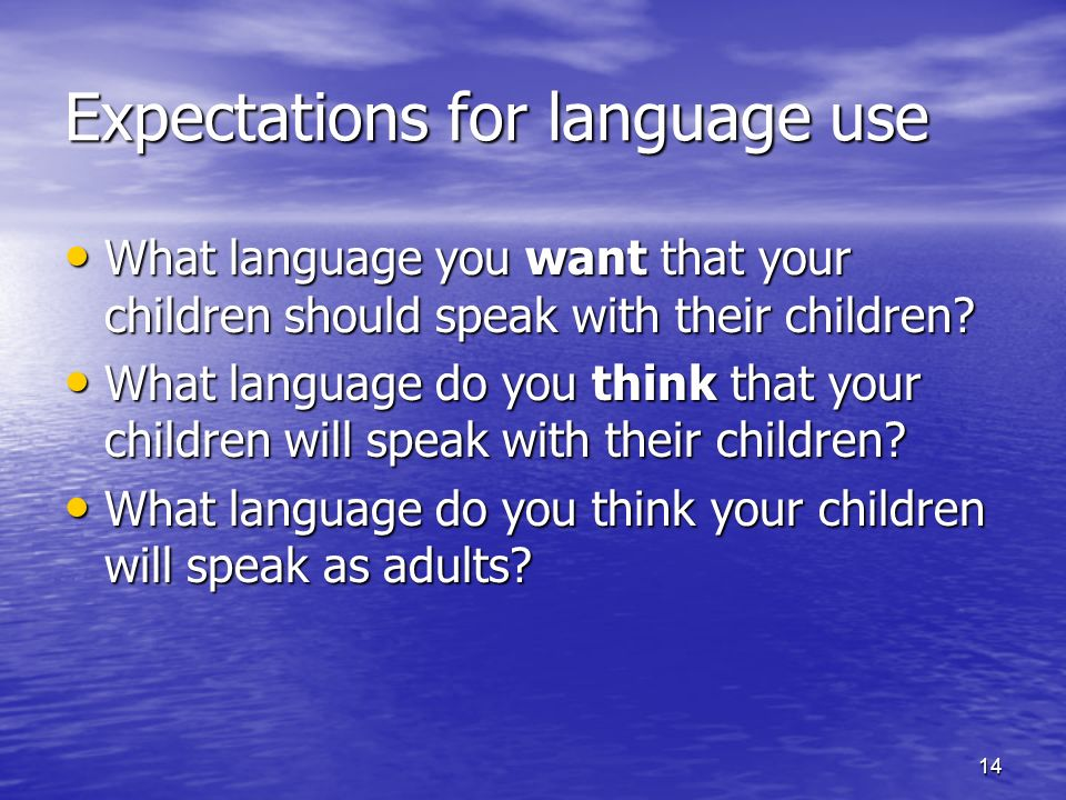 14 Expectations for language use What language you want that your children should speak with their children? What language you want that your children