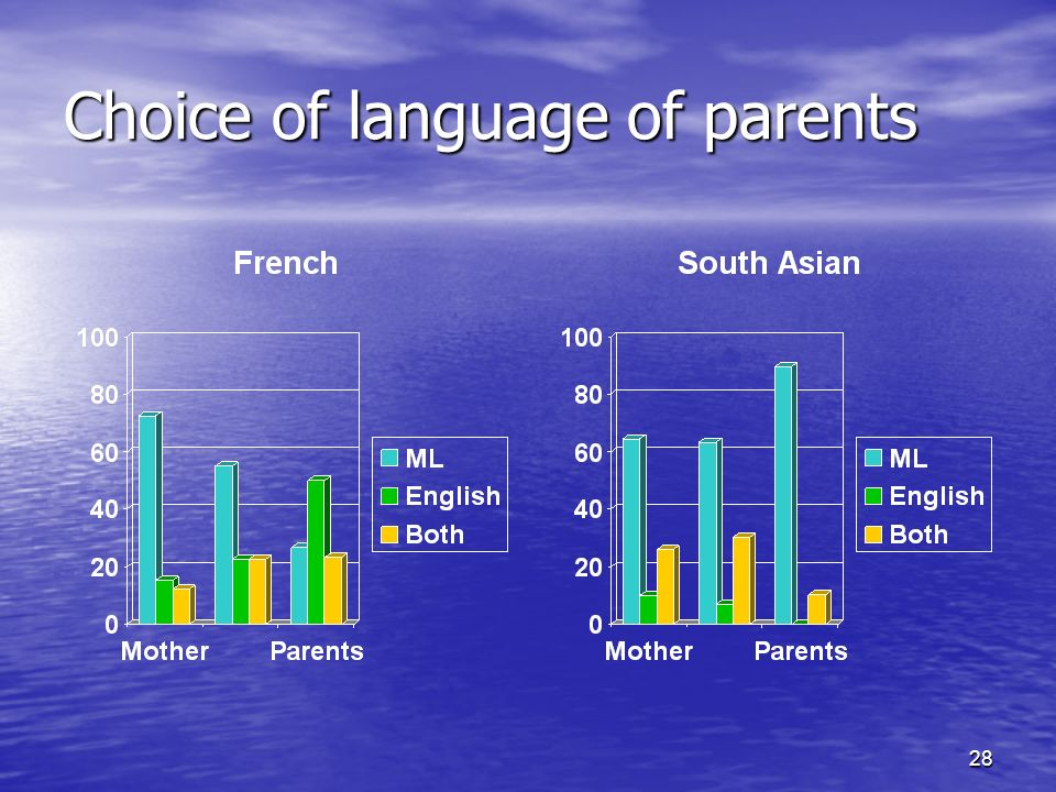 28 Choice of language of parents