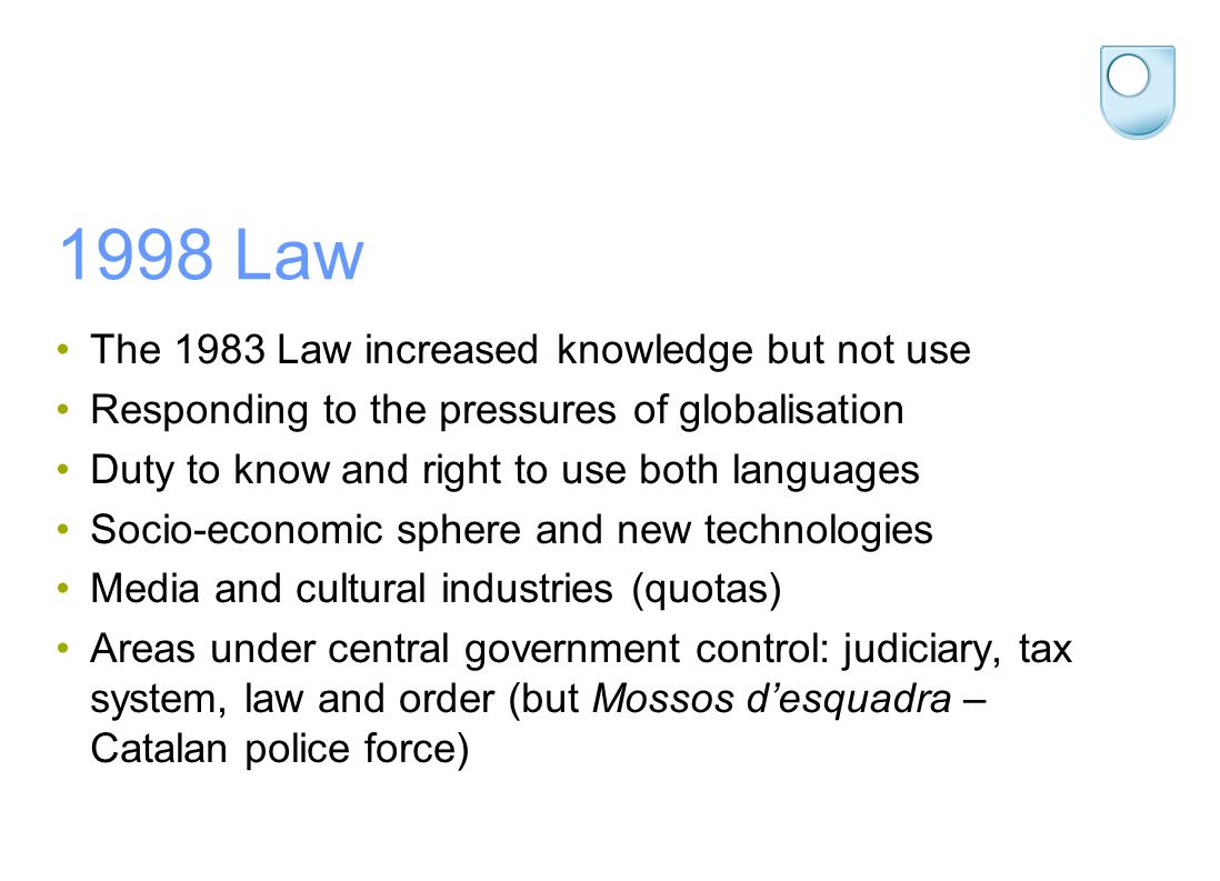 1998 Law The 1983 Law increased knowledge but not use Responding to the pressures of globalisation Duty to know and right to use both languages Socio-