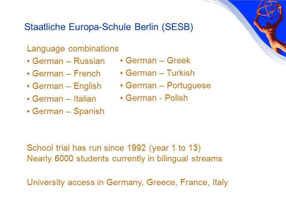 Language combinations German – Russian German – French German – English German – Italian German – Spanish School trial has run since 1992 (year 1 to 1