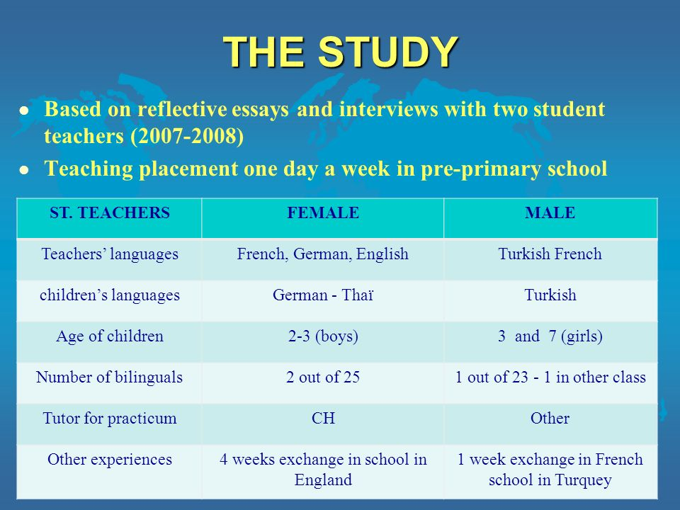 THE STUDY l Based on reflective essays and interviews with two student teachers (2007-2008) l Teaching placement one day a week in pre-primary school Christine Hélot, Université de Strasbourg 3 ST.