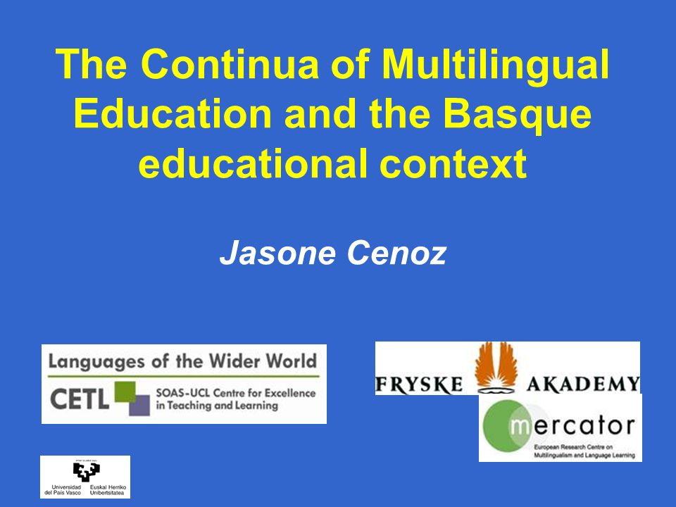 Outline of the presentation 1.Definitions and typologies of multilingual education 2.