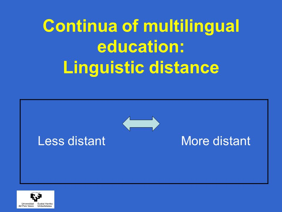 Continua of multilingual education: Linguistic distance Less distant More distant