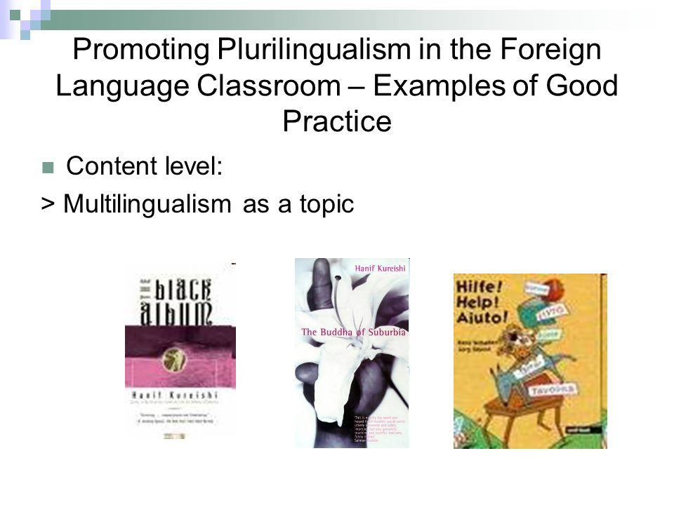 Promoting Plurilingualism in the Foreign Language Classroom – Examples of Good Practice Content level: > Multilingualism as a topic