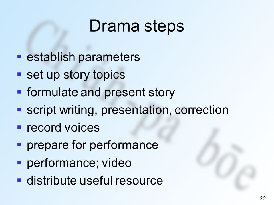 22 Drama steps establish parameters set up story topics formulate and present story script writing, presentation, correction record voices prepare for performance performance; video distribute useful resource