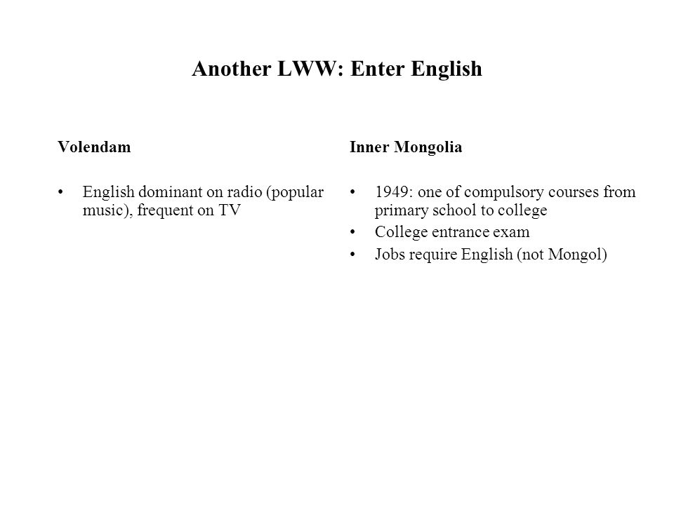 Another LWW: Enter English Volendam English dominant on radio (popular music), frequent on TV Inner Mongolia 1949: one of compulsory courses from prim