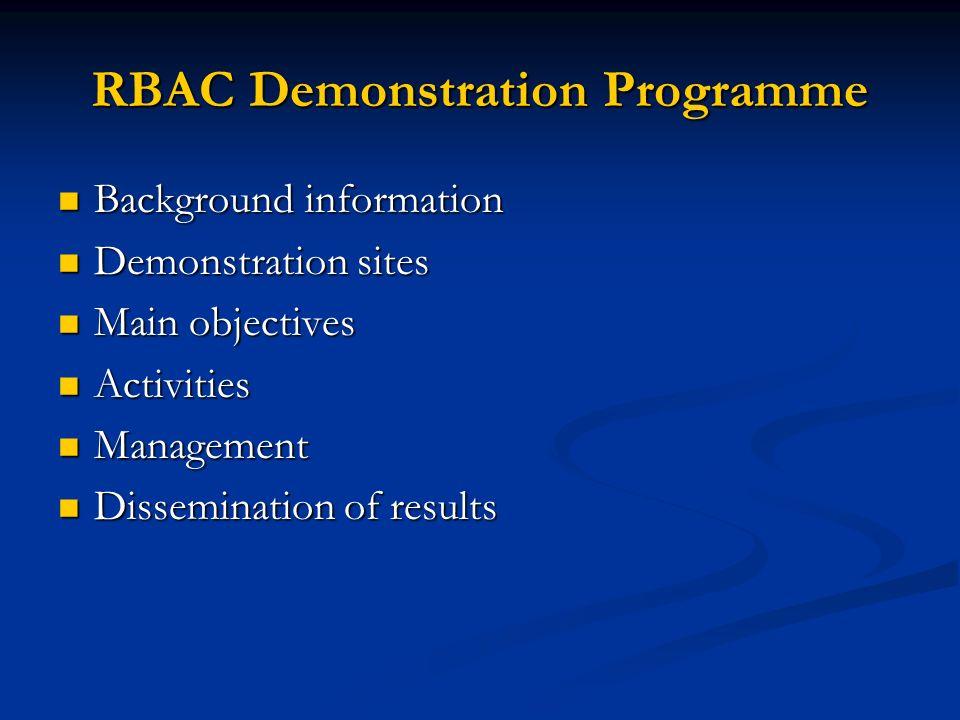 RBAC Demonstration Programme Background information Background information Demonstration sites Demonstration sites Main objectives Main objectives Activities Activities Management Management Dissemination of results Dissemination of results