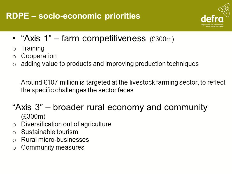 RDPE – socio-economic priorities Axis 1 – farm competitiveness (£300m) o Training o Cooperation o adding value to products and improving production techniques Around £107 million is targeted at the livestock farming sector, to reflect the specific challenges the sector faces Axis 3 – broader rural economy and community (£300m) o Diversification out of agriculture o Sustainable tourism o Rural micro-businesses o Community measures