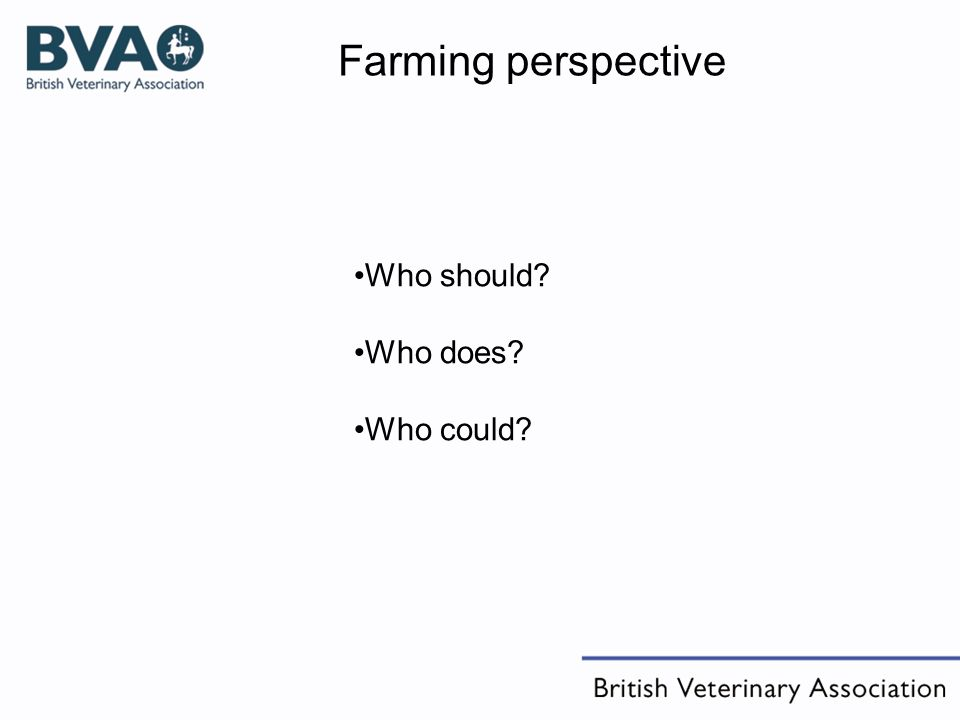 Who should? Who does? Who could? Farming perspective
