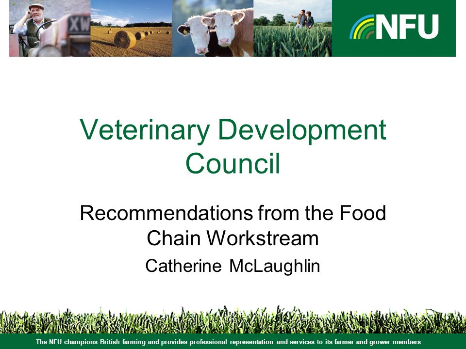 The NFU champions British farming and provides professional representation and services to its farmer and grower members Veterinary Development Council Recommendations from the Food Chain Workstream Catherine McLaughlin The NFU champions British farming and provides professional representation and services to its farmer and grower members