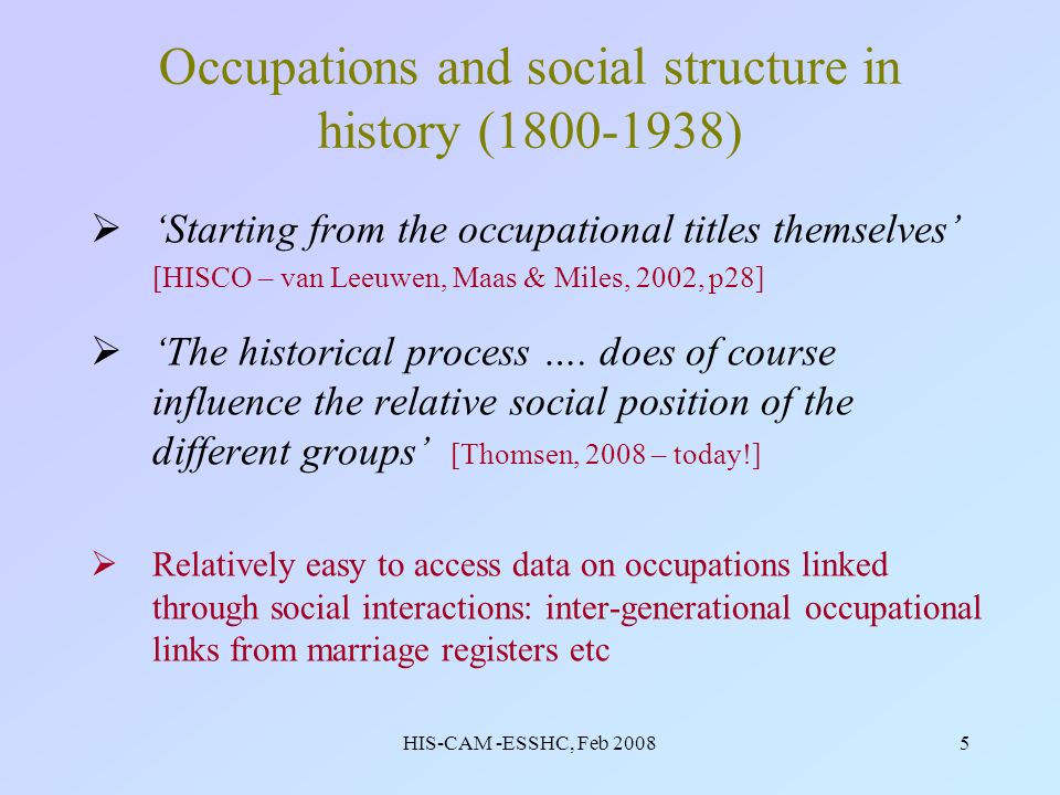 HIS-CAM -ESSHC, Feb 20085 Occupations and social structure in history (1800-1938) Starting from the occupational titles themselves [HISCO – van Leeuwen, Maas & Miles, 2002, p28] The historical process ….