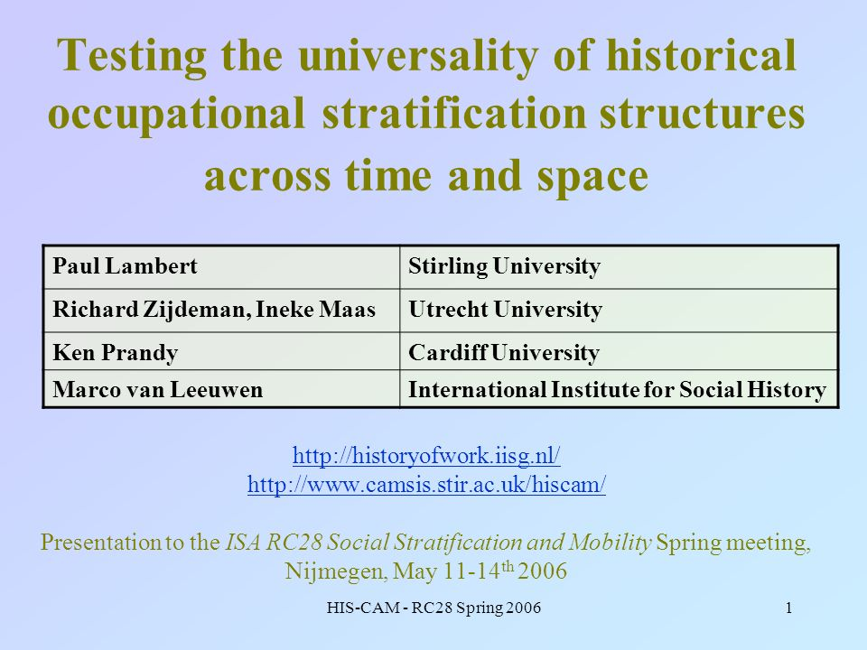 HIS-CAM - RC28 Spring 20061 Testing the universality of historical occupational stratification structures across time and space http://historyofwork.i