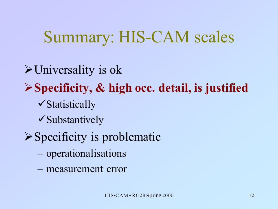 HIS-CAM - RC28 Spring 200612 Summary: HIS-CAM scales Universality is ok Specificity, & high occ. detail, is justified Statistically Substantively Spec