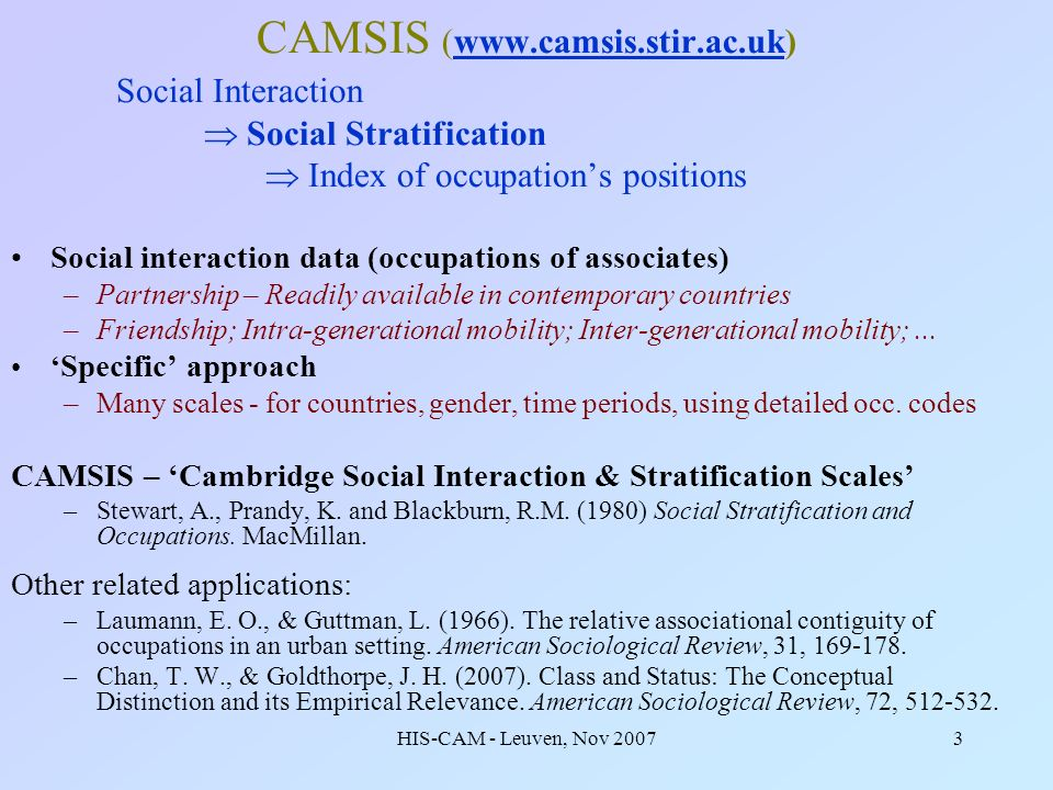 HIS-CAM - Leuven, Nov 20073 CAMSIS (www.camsis.stir.ac.uk)www.camsis.stir.ac.uk Social Interaction Social Stratification Index of occupations position