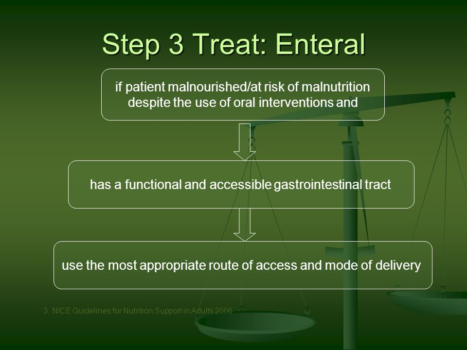 Step 3 Treat: Enteral use the most appropriate route of access and mode of delivery has a functional and accessible gastrointestinal tract if patient malnourished/at risk of malnutrition despite the use of oral interventions and 3.