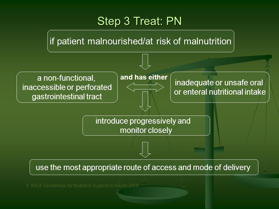Step 3 Treat: PN and has either introduce progressively and monitor closely if patient malnourished/at risk of malnutrition a non-functional, inaccessible or perforated gastrointestinal tract inadequate or unsafe oral or enteral nutritional intake use the most appropriate route of access and mode of delivery 3.
