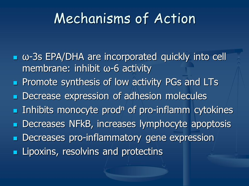 Mechanisms of Action ω-3s EPA/DHA are incorporated quickly into cell membrane: inhibit ω-6 activity ω-3s EPA/DHA are incorporated quickly into cell membrane: inhibit ω-6 activity Promote synthesis of low activity PGs and LTs Promote synthesis of low activity PGs and LTs Decrease expression of adhesion molecules Decrease expression of adhesion molecules Inhibits monocyte prod n of pro-inflamm cytokines Inhibits monocyte prod n of pro-inflamm cytokines Decreases NFkB, increases lymphocyte apoptosis Decreases NFkB, increases lymphocyte apoptosis Decreases pro-inflammatory gene expression Decreases pro-inflammatory gene expression Lipoxins, resolvins and protectins Lipoxins, resolvins and protectins
