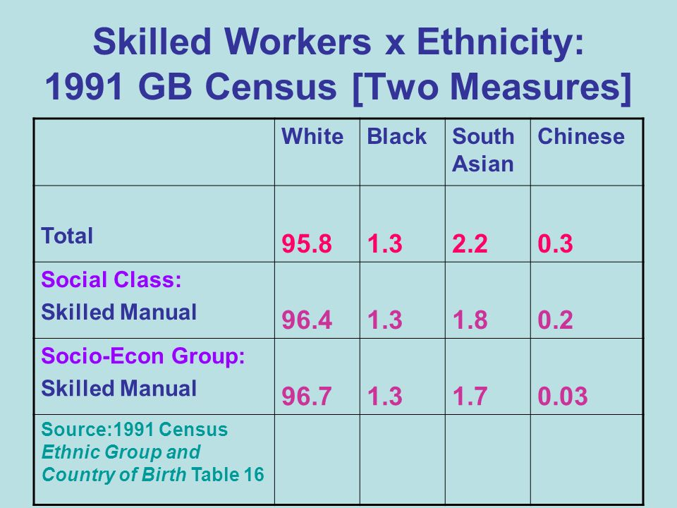 Skilled Workers x Ethnicity: 1991 GB Census [Two Measures] WhiteBlackSouth Asian Chinese Total 95.81.32.20.3 Social Class: Skilled Manual 96.41.31.80.2 Socio-Econ Group: Skilled Manual 96.71.31.70.03 Source:1991 Census Ethnic Group and Country of Birth Table 16
