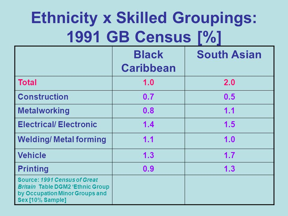 Ethnicity x Skilled Groupings: 1991 GB Census [%] Black Caribbean South Asian Total1.02.0 Construction0.70.5 Metalworking0.81.1 Electrical/ Electronic1.41.5 Welding/ Metal forming1.11.0 Vehicle1.31.7 Printing0.91.3 Source: 1991 Census of Great Britain Table DGM2 Ethnic Group by Occupation Minor Groups and Sex [10% Sample]