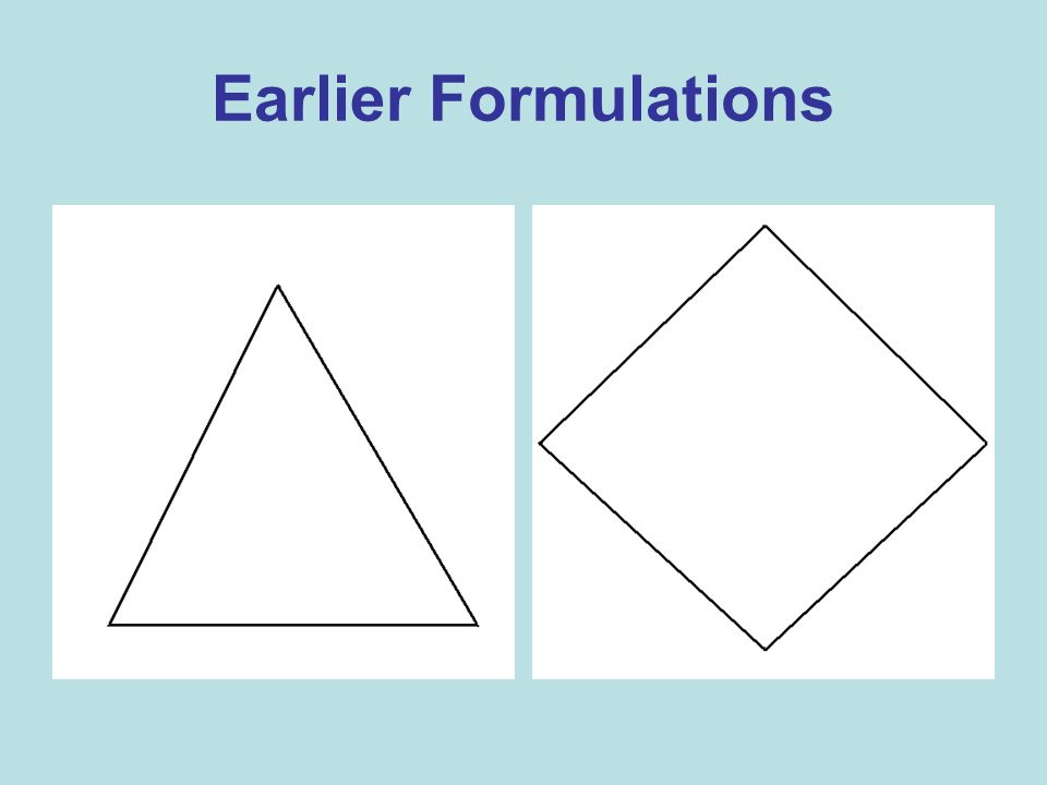 Earlier Formulations