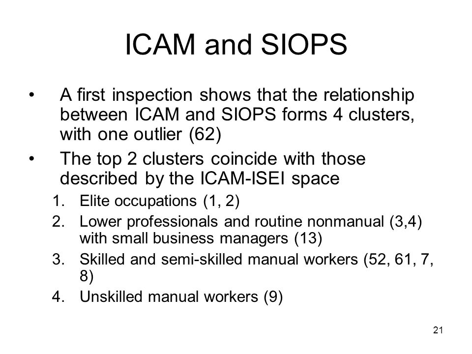 21 ICAM and SIOPS A first inspection shows that the relationship between ICAM and SIOPS forms 4 clusters, with one outlier (62) The top 2 clusters coincide with those described by the ICAM-ISEI space 1.Elite occupations (1, 2) 2.Lower professionals and routine nonmanual (3,4) with small business managers (13) 3.Skilled and semi-skilled manual workers (52, 61, 7, 8) 4.Unskilled manual workers (9)