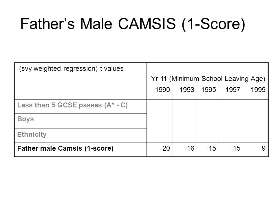 Fathers Male CAMSIS (1-Score) (svy weighted regression) t values Yr 11 (Minimum School Leaving Age) 19901993199519971999 Less than 5 GCSE passes (A* - C) Boys Ethnicity Father male Camsis (1-score)-20-16-15 -9