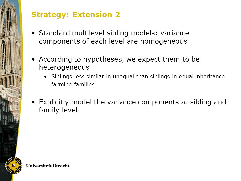 Strategy: Extension 2 Standard multilevel sibling models: variance components of each level are homogeneous According to hypotheses, we expect them to