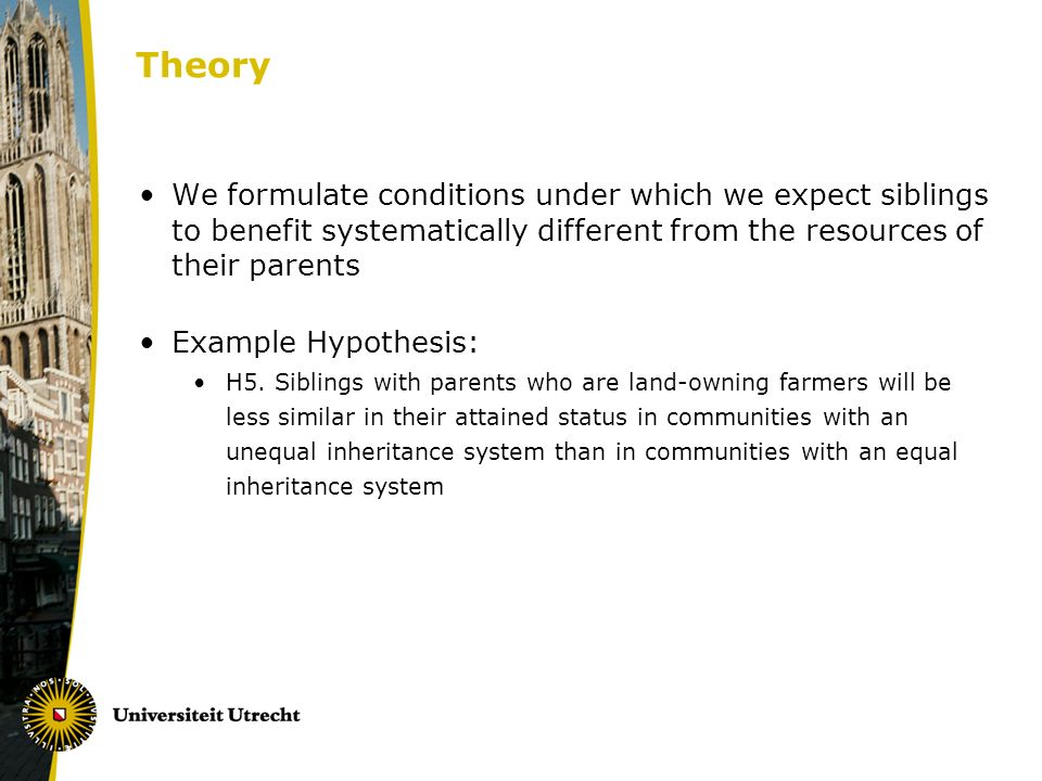 Theory We formulate conditions under which we expect siblings to benefit systematically different from the resources of their parents Example Hypothes