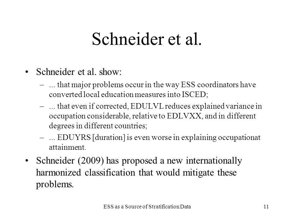 ESS as a Source of Stratification Data11 Schneider et al. Schneider et al. show: –... that major problems occur in the way ESS coordinators have conve