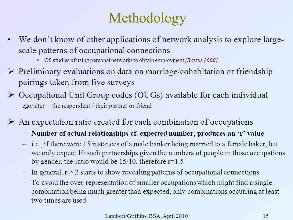 Lambert/Griffiths, BSA, April 201015 Methodology We dont know of other applications of network analysis to explore large- scale patterns of occupational connections Cf.