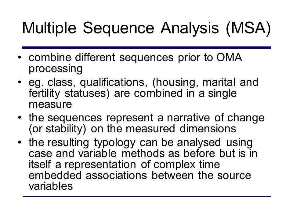 Multiple Sequence Analysis (MSA) combine different sequences prior to OMA processing eg. class, qualifications, (housing, marital and fertility status