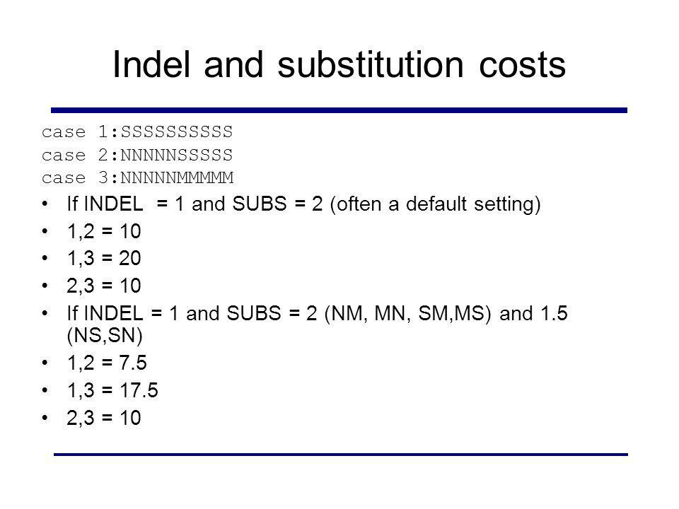 Indel and substitution costs case 1:SSSSSSSSSS case 2:NNNNNSSSSS case 3:NNNNNMMMMM If INDEL = 1 and SUBS = 2 (often a default setting) 1,2 = 10 1,3 =