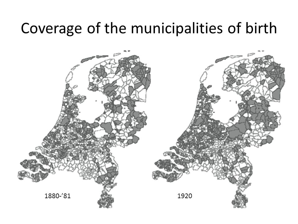 Coverage of the municipalities of birth 1880-811920