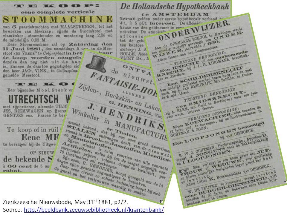 Zierikzeesche Nieuwsbode, May 31 st 1881, p2/2.