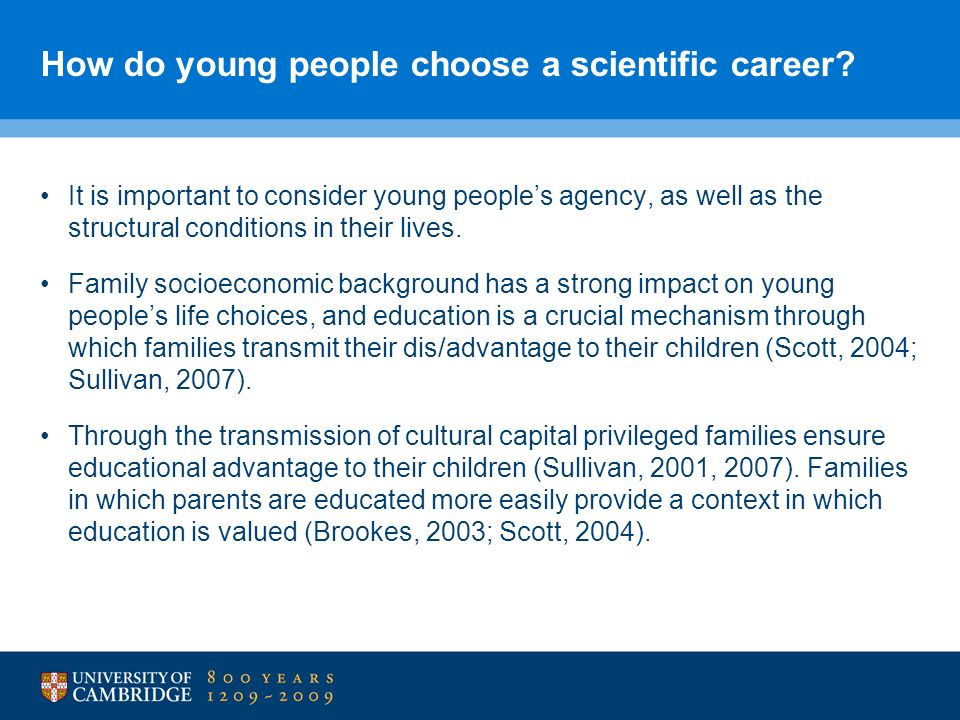 How do young people choose a scientific career.