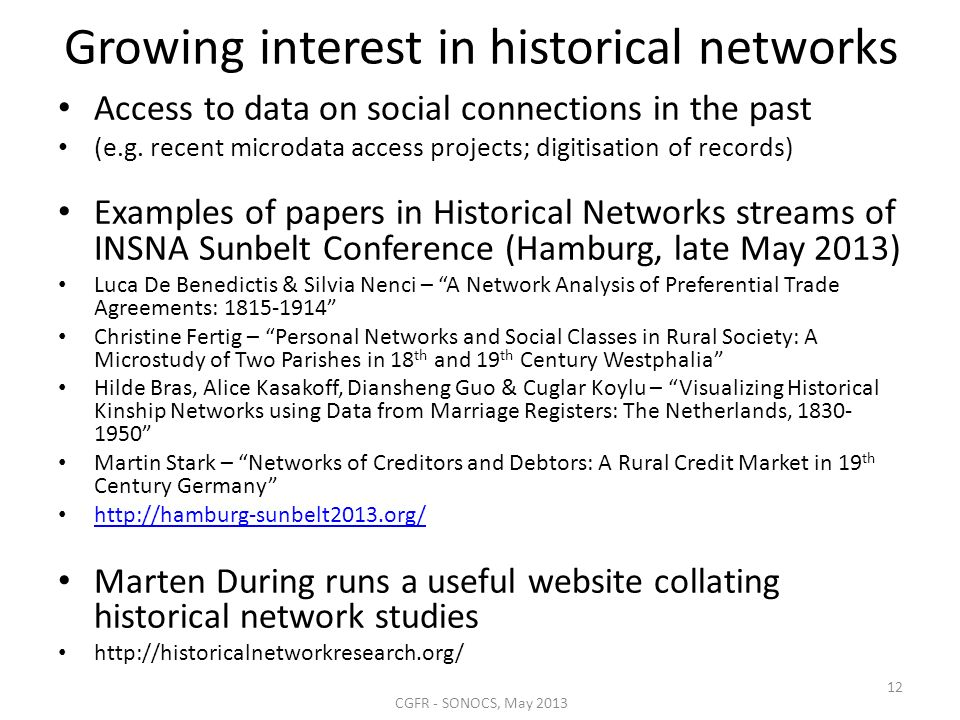 Growing interest in historical networks Access to data on social connections in the past (e.g.