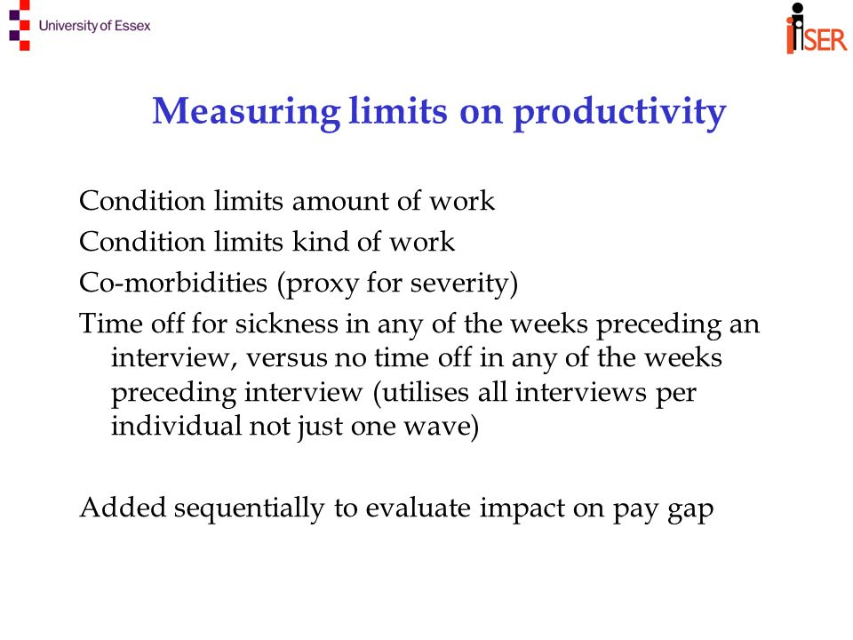 Measuring limits on productivity Condition limits amount of work Condition limits kind of work Co-morbidities (proxy for severity) Time off for sickness in any of the weeks preceding an interview, versus no time off in any of the weeks preceding interview (utilises all interviews per individual not just one wave) Added sequentially to evaluate impact on pay gap