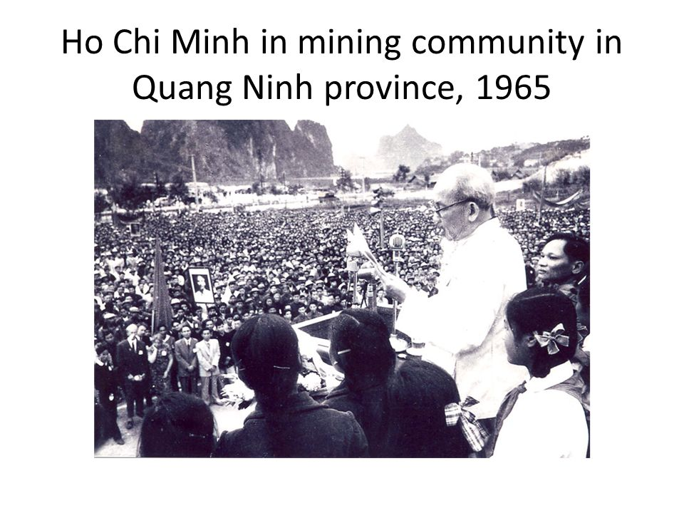Ho Chi Minh in mining community in Quang Ninh province, 1965
