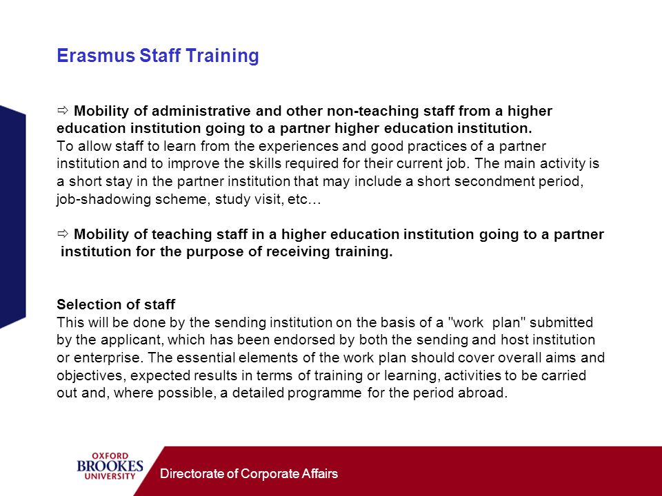 Directorate of Corporate Affairs Erasmus Staff Training Mobility of administrative and other non-teaching staff from a higher education institution go