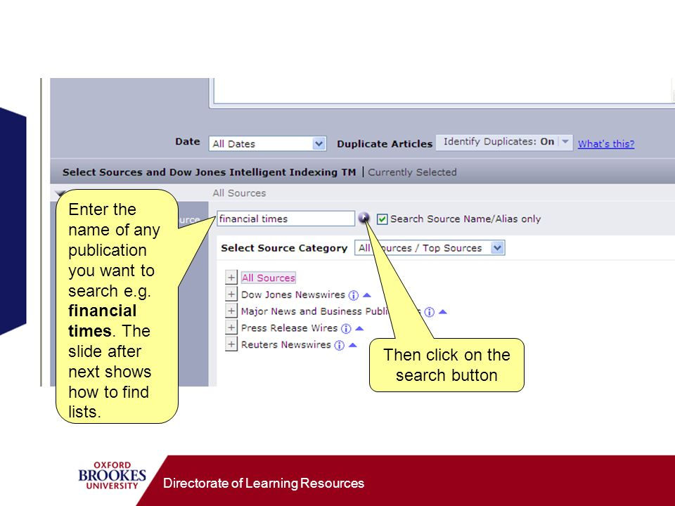 Directorate of Learning Resources Enter the name of any publication you want to search e.g.
