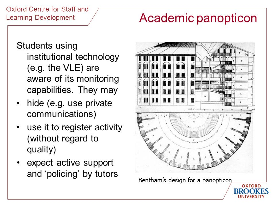 Oxford Centre for Staff and Learning Development Academic panopticon Students using institutional technology (e.g. the VLE) are aware of its monitorin