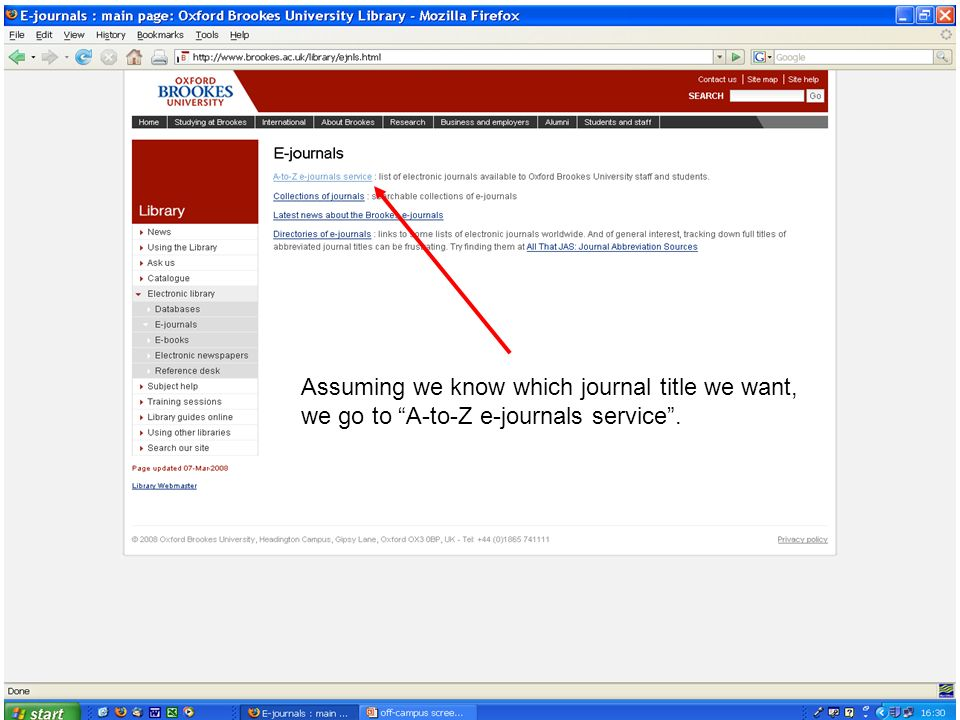 Assuming we know which journal title we want, we go to A-to-Z e-journals service.