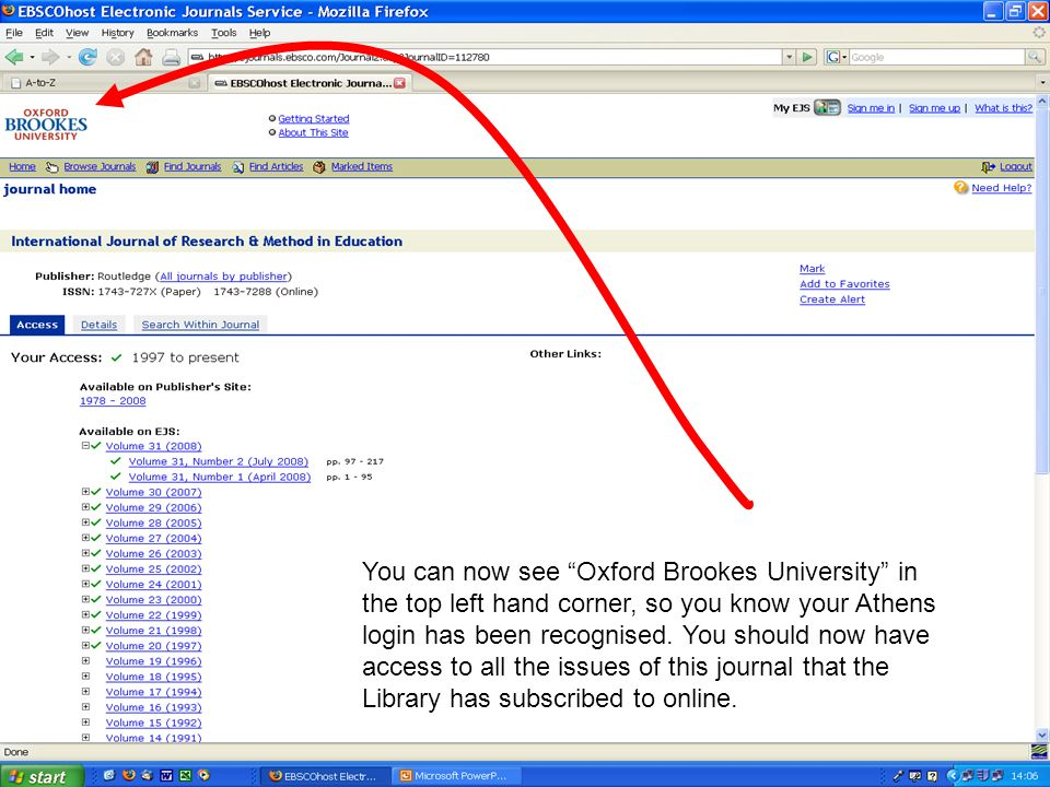 You can now see Oxford Brookes University in the top left hand corner, so you know your Athens login has been recognised. You should now have access t