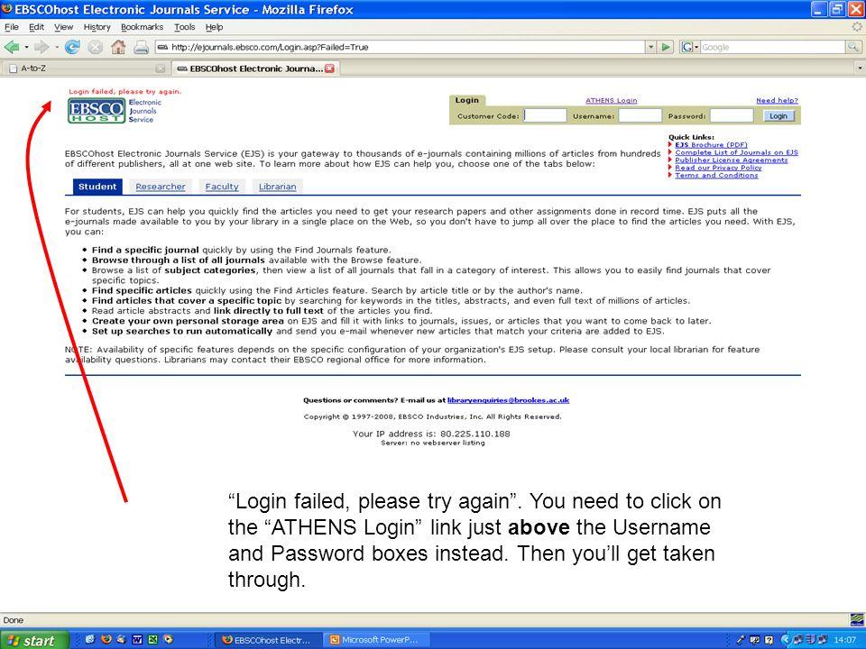 Login failed, please try again.
