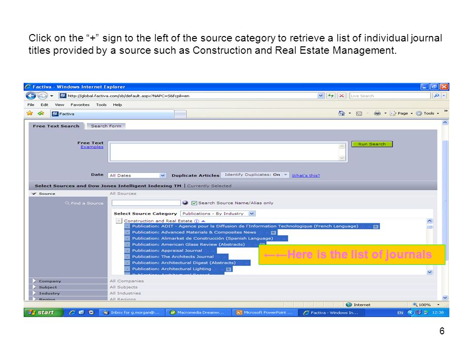 6 Click on the + sign to the left of the source category to retrieve a list of individual journal titles provided by a source such as Construction and Real Estate Management.