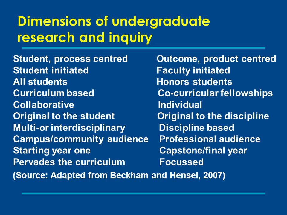 Dimensions of undergraduate research and inquiry Student, process centred Outcome, product centred Student initiated Faculty initiated All students Honors students Curriculum based Co-curricular fellowships Collaborative Individual Original to the student Original to the discipline Multi-or interdisciplinary Discipline based Campus/community audience Professional audience Starting year one Capstone/final year Pervades the curriculum Focussed (Source: Adapted from Beckham and Hensel, 2007)