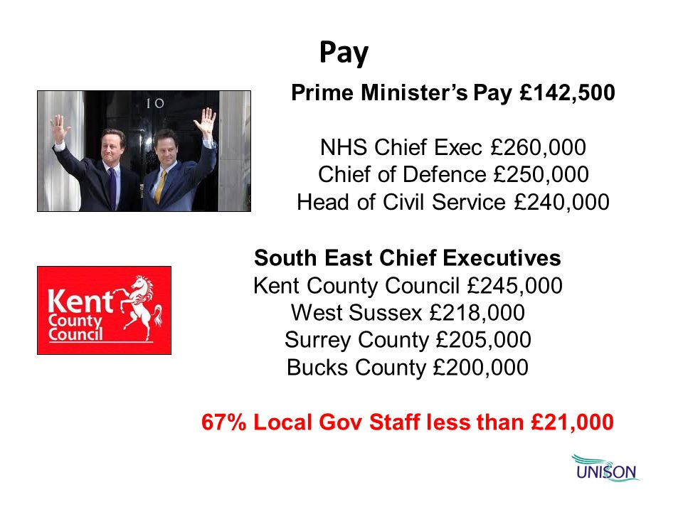 Pay Prime Ministers Pay £142,500 NHS Chief Exec £260,000 Chief of Defence £250,000 Head of Civil Service £240,000 South East Chief Executives Kent Cou